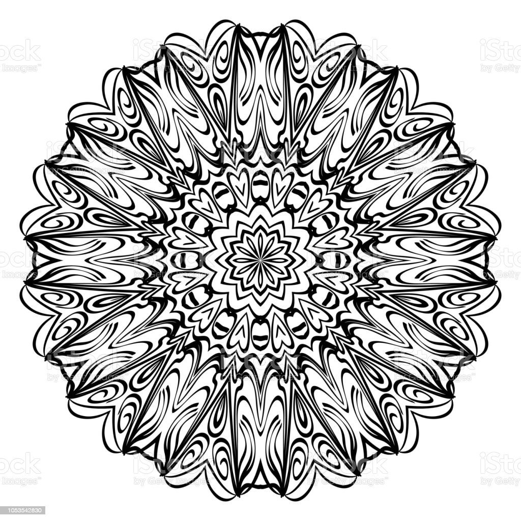 Mandala Kleurplaten Boek.Bloem Mandala Kleurplaten Decoratieve Elementen Oosterse Patroon