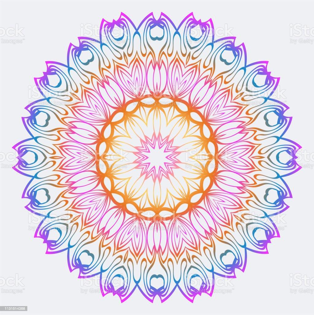 Mandala De Coloriage Fleur Éléments Vectoriels Décoratifs Motif Oriental Indien Marocain ...