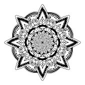 Flower coloring mandala on a white background. Isolated vector illustration.
