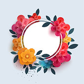 Flower composition with the text in a circle. Botanical illustration of red flowers thank you. Paper flowers can be used for printing, promotions, advertising, banner,