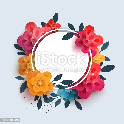 istock Flower composition with the text in a circle. 866155050