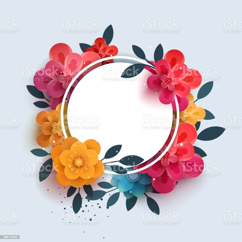 Flower composition with the text in a circle. vector art illustration