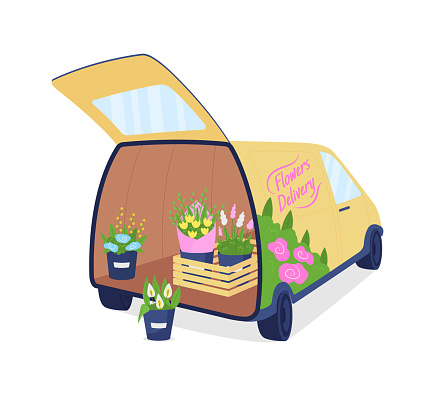 Flower delivery auto with opened trunk flat color vector object