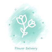 Vector flower line icon over watercolor background.