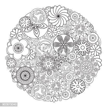 istock Patrón floral monocromo de vector. Imitación de flores dibujado ...