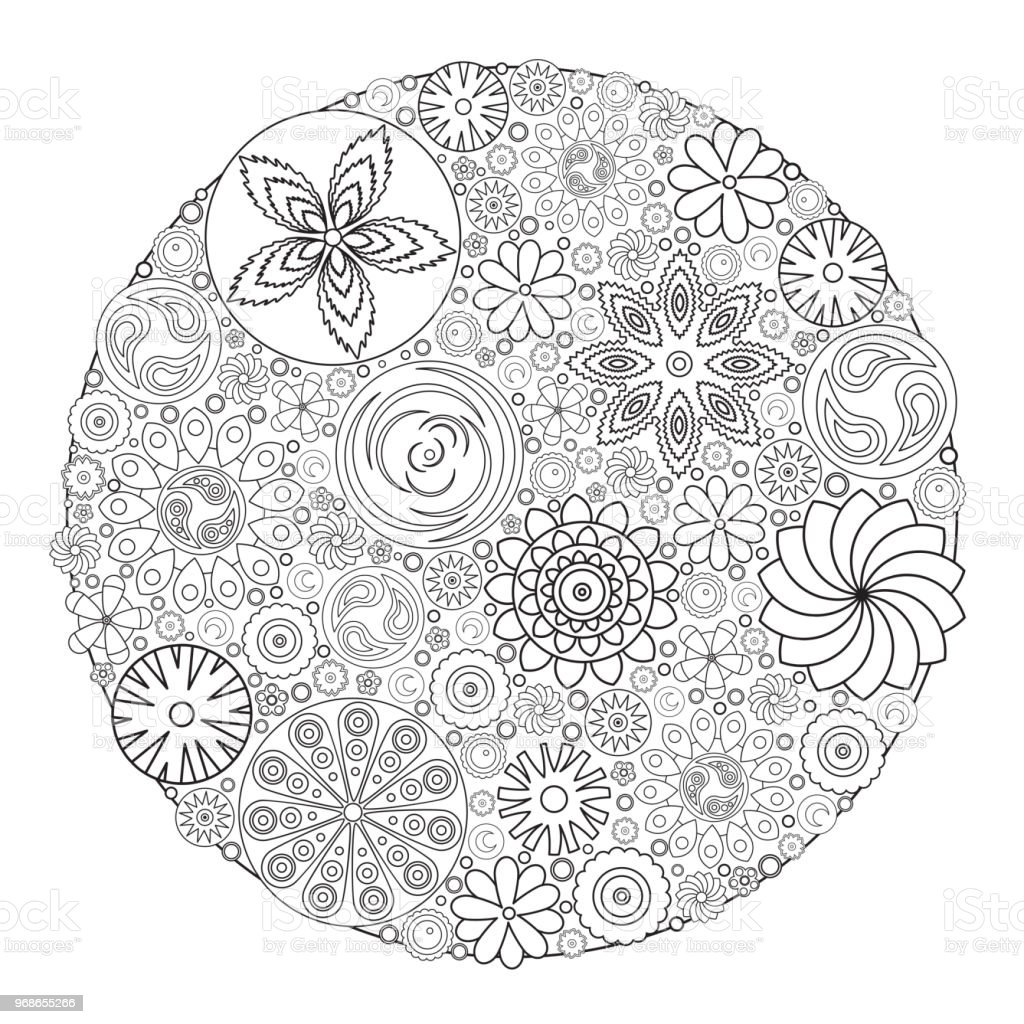 Flower Design For Coloring Book Grown Up An Adult Floral Drawing