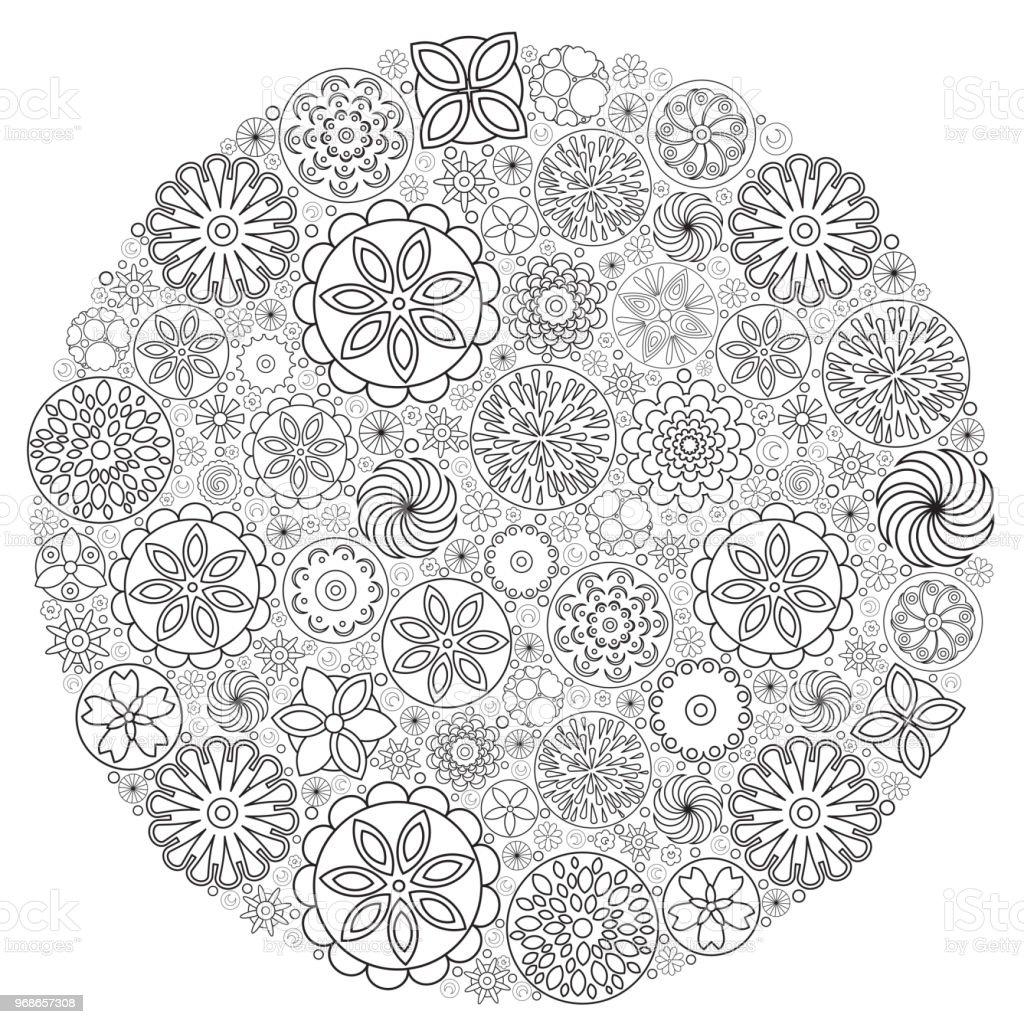 Ilustración de Diseño De Flores Para Colorear Libro Para Crecido Un ...