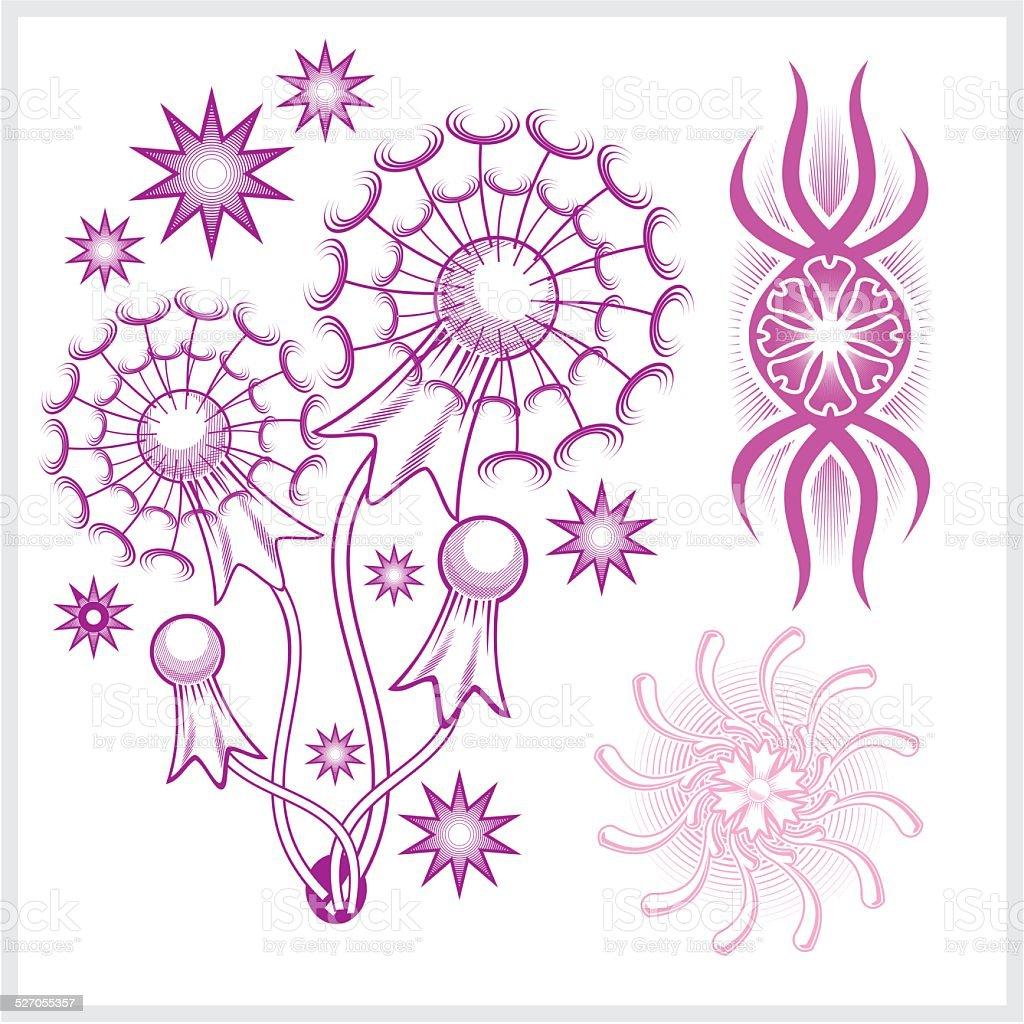Ilustración De Diseño De Flores Para El Tatuaje Ilustración