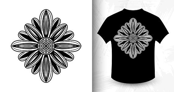 Flower. Design idea for t-shirt print.