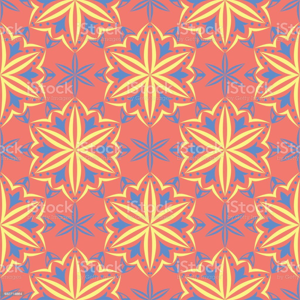 Flower Design Seamless Pattern Bright Yellow And Blue Flower