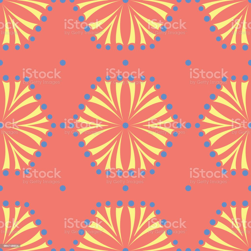 Flower design seamless pattern. Bright yellow and blue flower elements on salmon red background royalty-free flower design seamless pattern bright yellow and blue flower elements on salmon red background stock vector art & more images of abstract