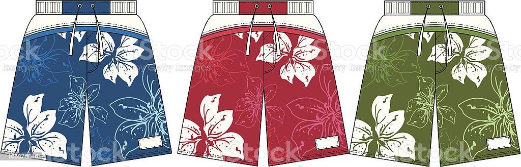 Flower Design Surf Board Beach Shorts vector art illustration