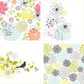 Set of flower designs and seamless floral patterns.  Additional AI9 file with uncropped shapes and hi res jpeg included.  Scroll down to see more of my illustrations.
