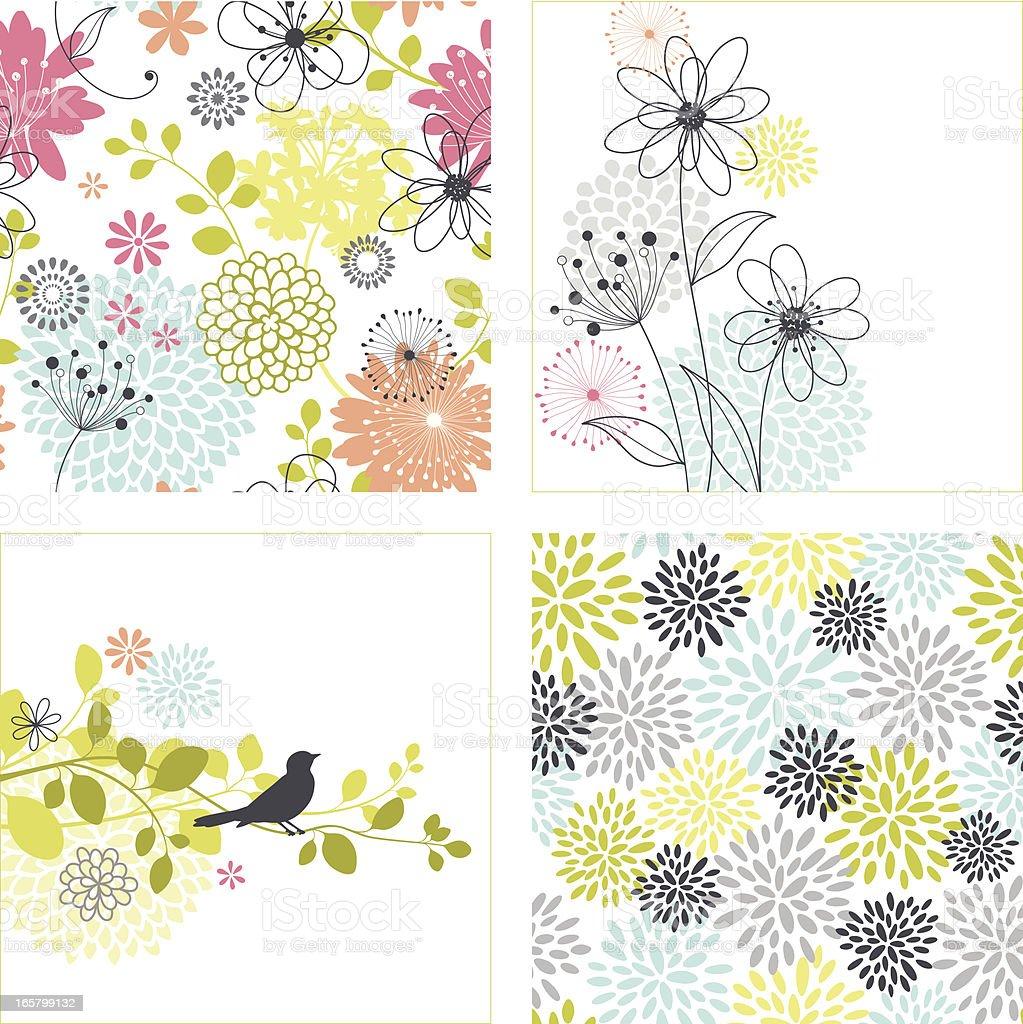 Flower Designs and Seamless Patterns向量藝術插圖