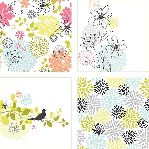 stockillustraties, clipart, cartoons en iconen met flower designs and seamless patterns - enkele bloem