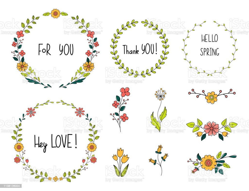Flower Doodle Set Collection Of Floral Elements And Hand