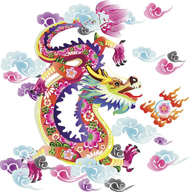 フラワーのドラゴン - 動物のタトゥー点のイラスト素材/クリップアート素材/マンガ素材/アイコン素材