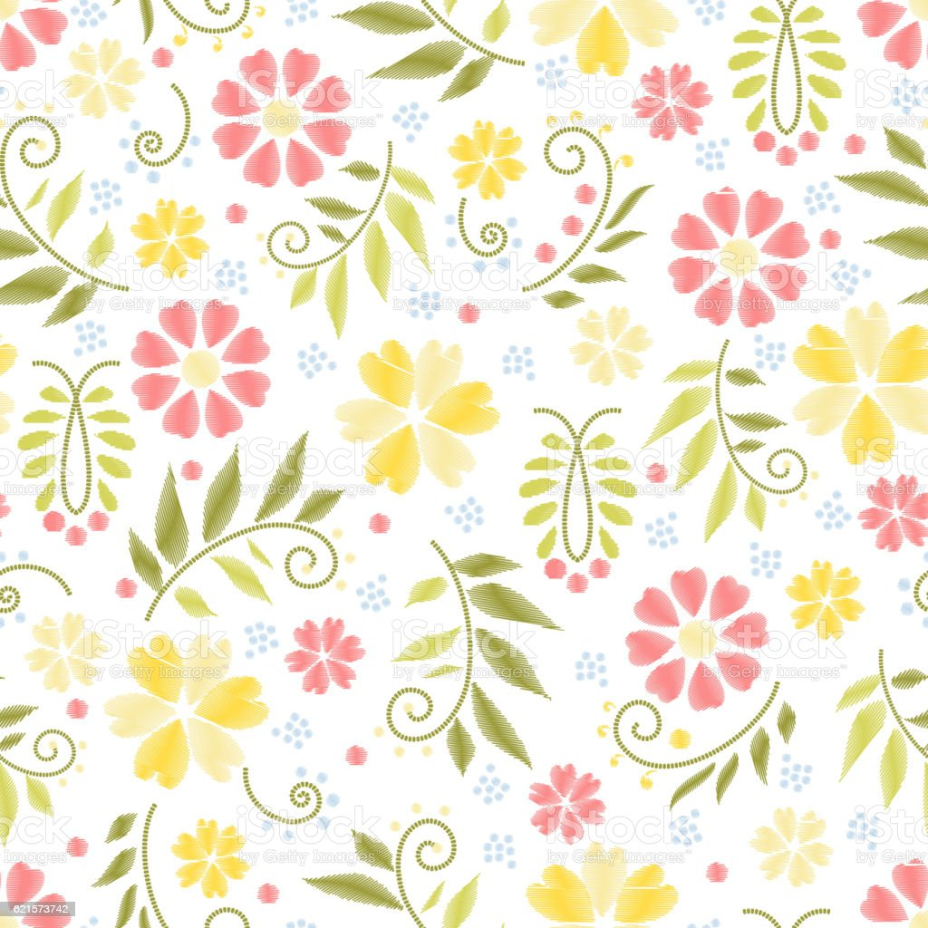 Flower embroidery seamless pattern vector flower embroidery seamless pattern vector – cliparts vectoriels et plus d'images de arbre en fleurs libre de droits