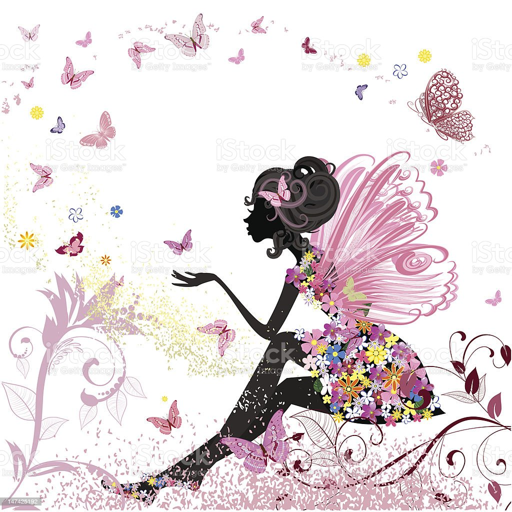 Flower Fairy in the environment of butterflies vector art illustration