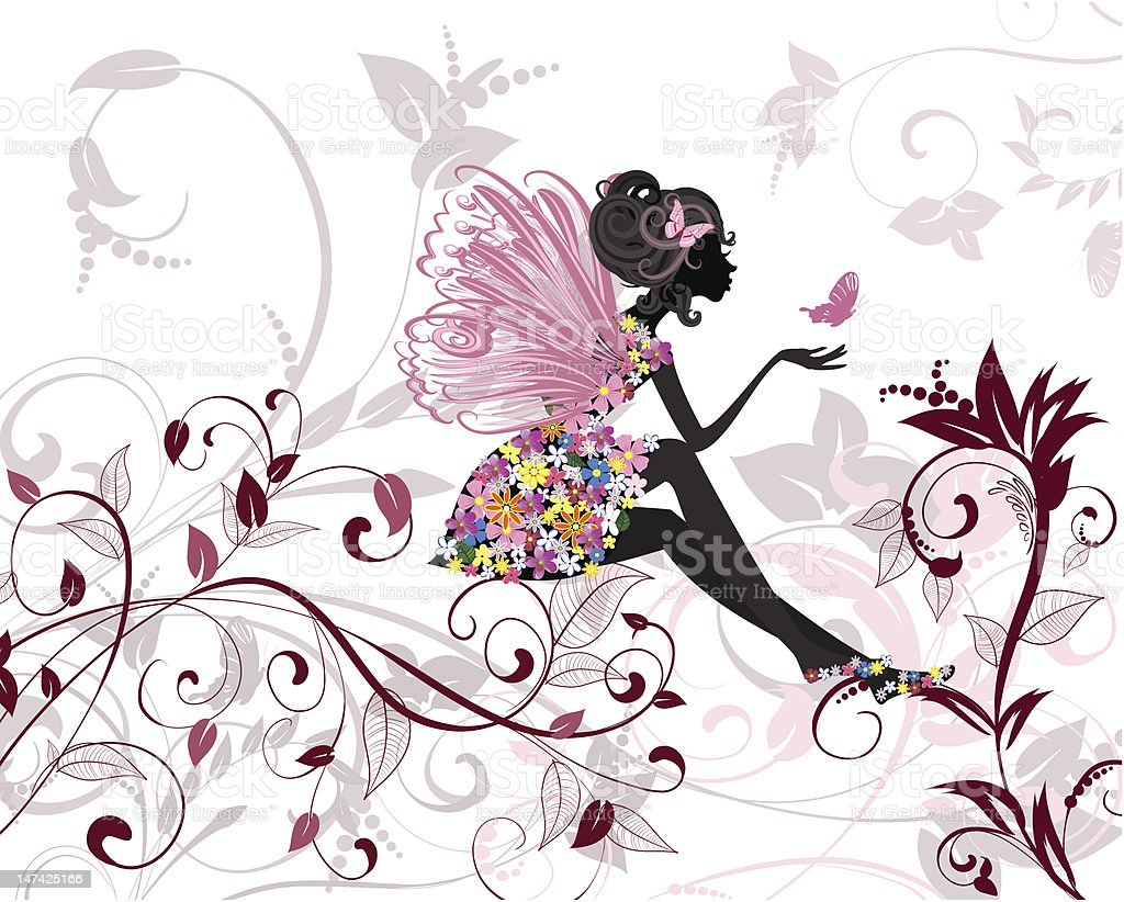 Flower Fairy with butterflies royalty-free stock vector art