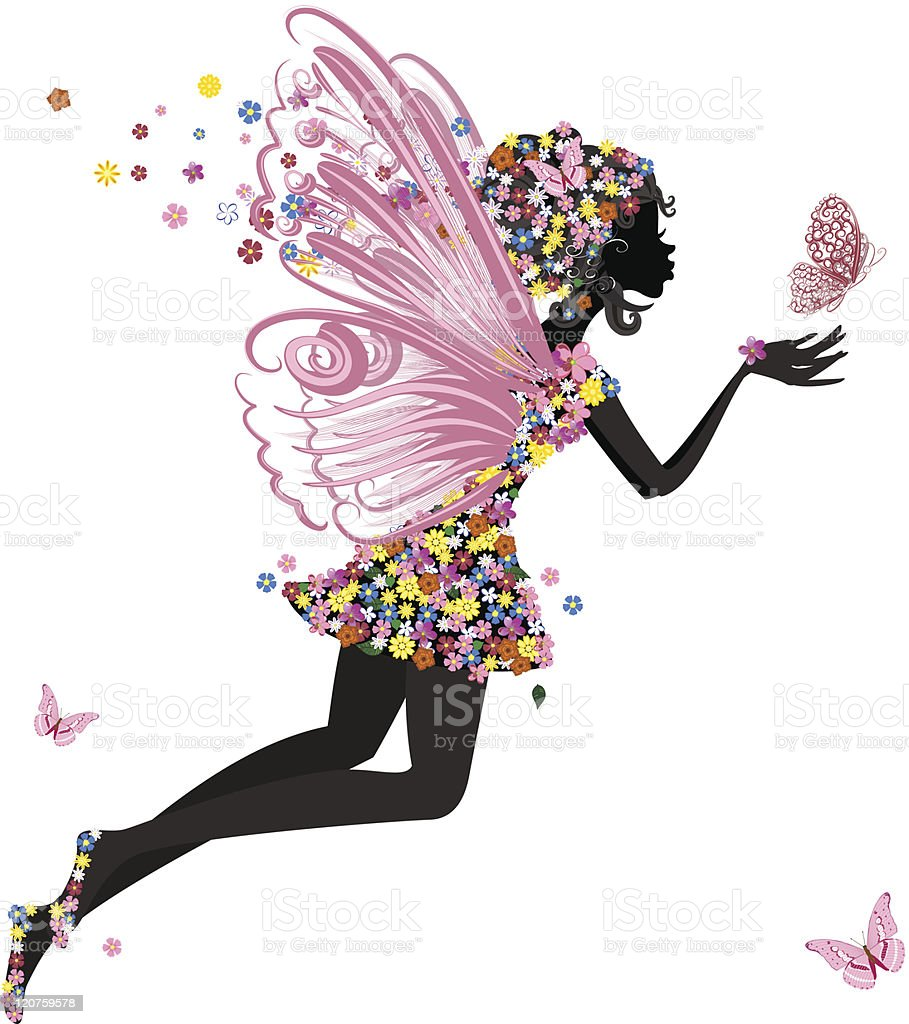 Flower Fairy with butterfly vector art illustration
