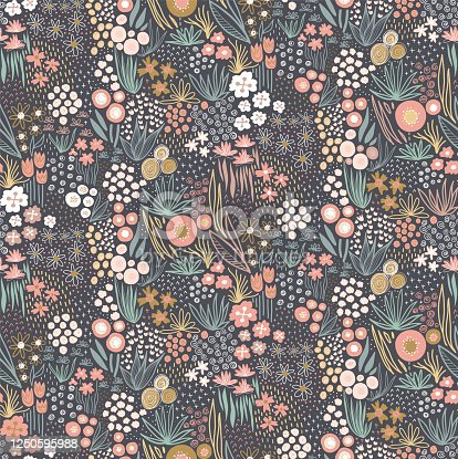 istock Flower field pastel colors on dark seamless vector pattern. Repeating liberty doodle flower meadow background. Repeating Scandinavian style line art florals. For fabric, wallpaper, home decor 1250595988
