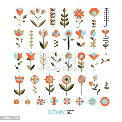 Vector  flower flat botany  collection isolated on white background. Set of  floral and herb elements, ecology signs and icons.