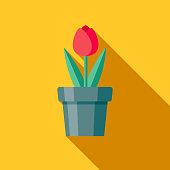 A colored flat design gardening supplies icon with a long side shadow. Color swatches are global so it's easy to edit and change the colors.
