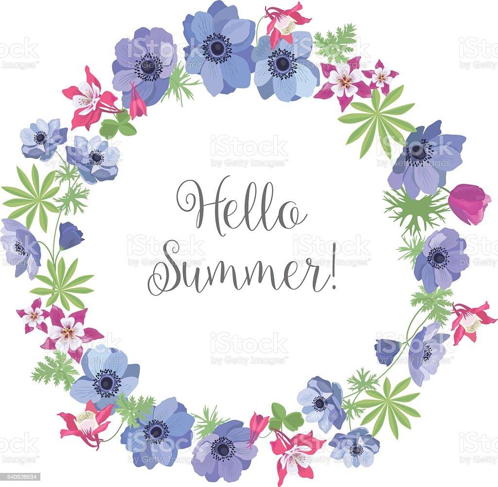 flower frame floral background summer greeting card design