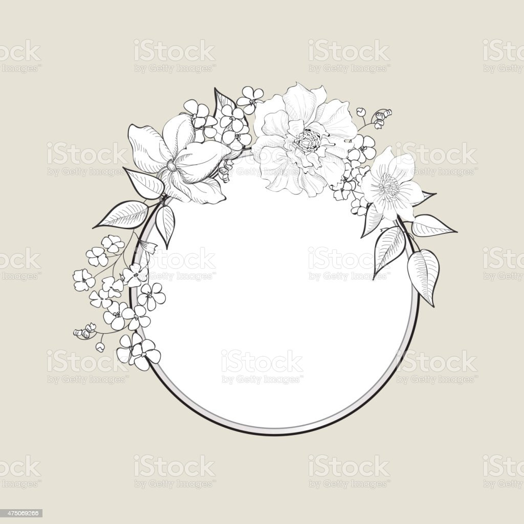 Flower Frame Floral Vintage Background In Victorian Style Royalty Free