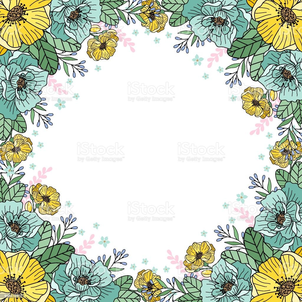 ilustración de marco de flores para tarjetas de felicitación boda
