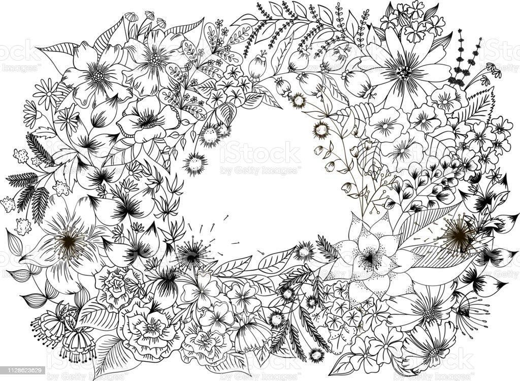 Coloriage Cadre Fleur.Cadre Fleur Gerbera Rose Lily Et Camomille Pour Coloriage Livre