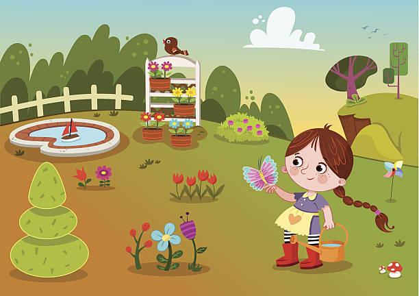 ilustrações de stock, clip art, desenhos animados e ícones de jardim de flor e rapariga - mulher natureza flores e piscina
