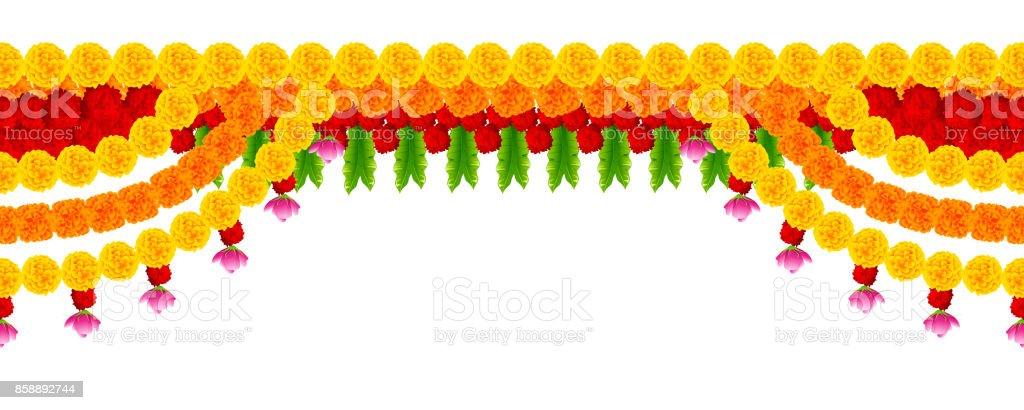 half off b7b74 42d6d Flower Garland Decoration Toran For Happy Diwali Holiday Background Stock  Illustration - Download Image Now
