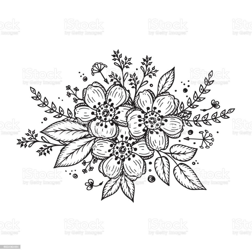 flower garland template for invitation card vintage floral