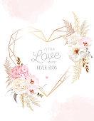 istock Flower geometric heart line art vector design frame. 1283589394