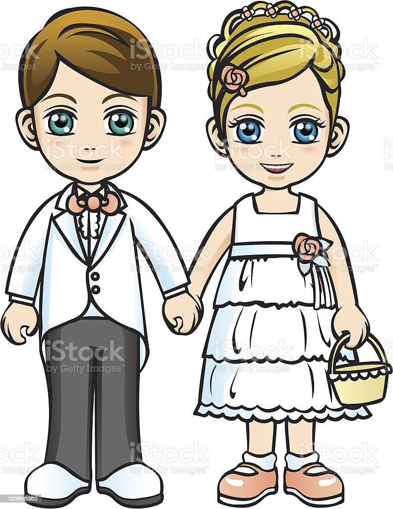 Flower girl and page boy vector art illustration
