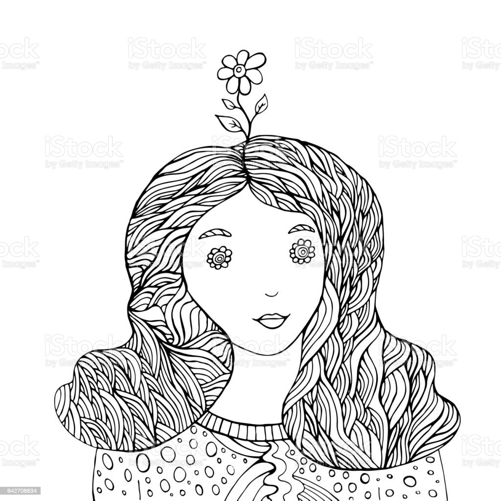 Flower Girl Fantasy Coloring Book Stock Vector Art & More Images of ...