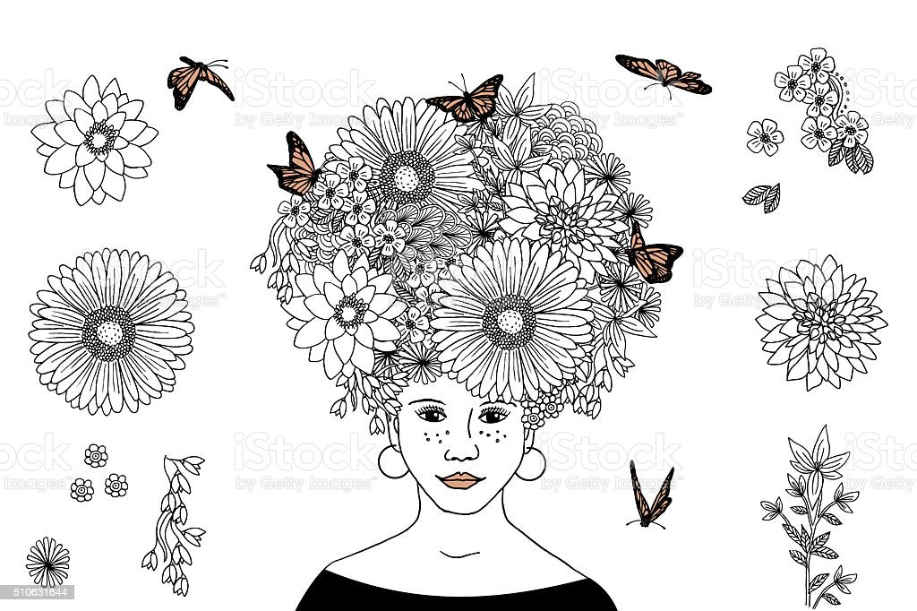 Flower girl - hand drawn portrait royalty-free flower girl hand drawn portrait stock vector art & more images of adult