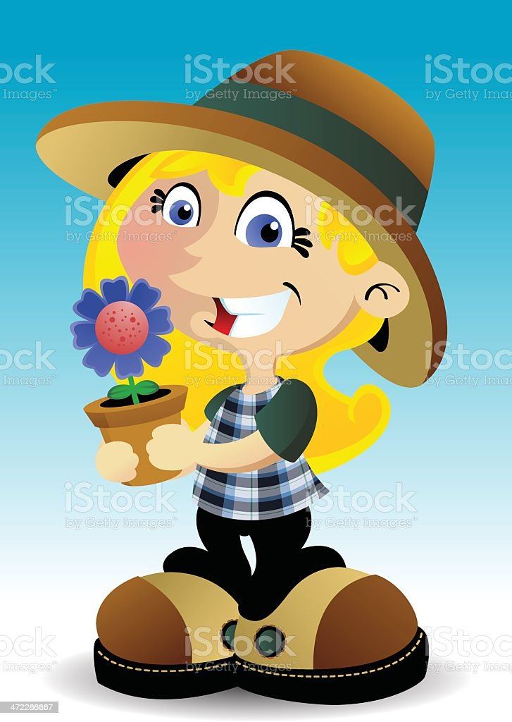 Flower Girl vector art illustration