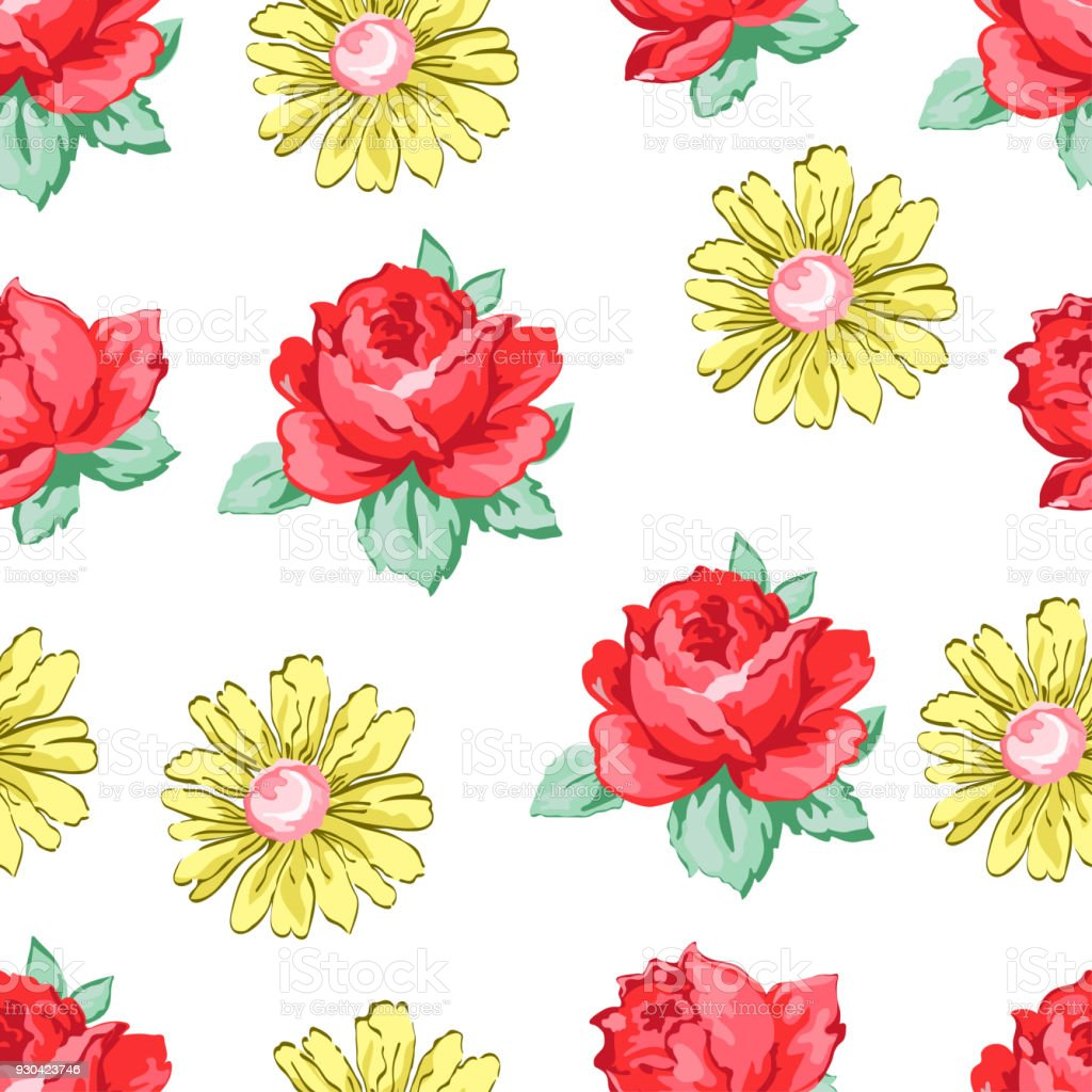 Flower Hand Drawing Seamless Pattern Vector Floral Background Embroidery Ornament Drawn Buds