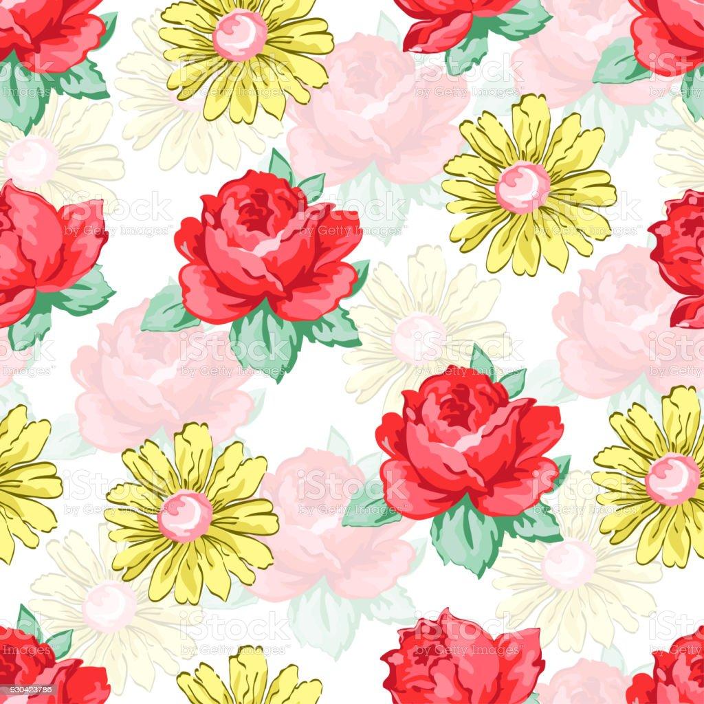 Ilustración de Flor Dibujo De Patrones Sin Fisuras Fondo Floral Del ...