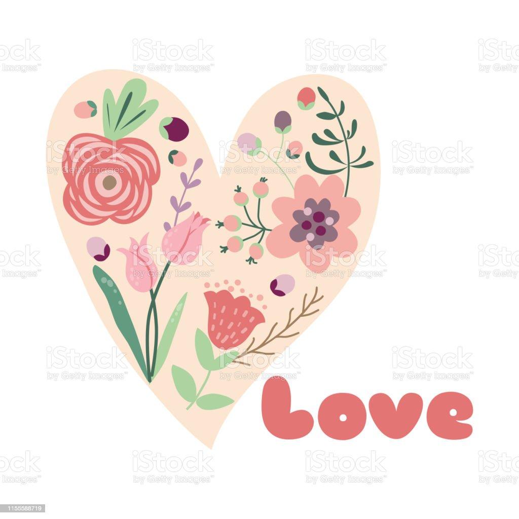 Flower heart Floral design concept for Valentines Day Floral heart...