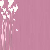 Pink background with white heart-flowers and butterflies.