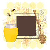 Vector frame with flower honey on white background