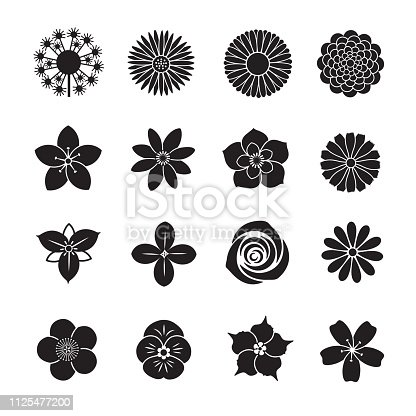 Flower icon collection, Set of 16 editable filled, Simple clearly defined shapes in one color.