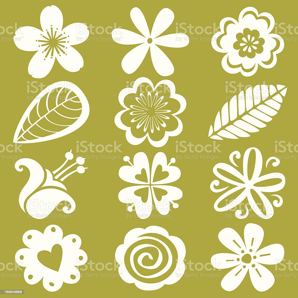 Flower icon collection vector art illustration