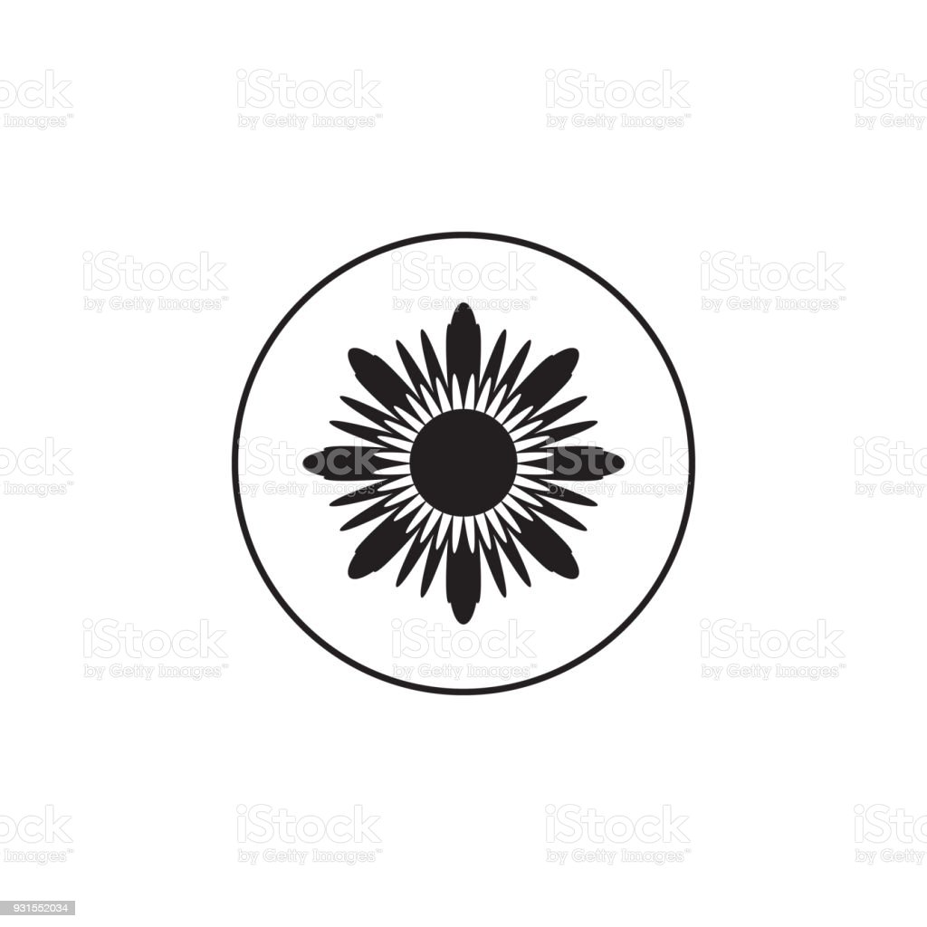 Flower Icon Element Of In A Circle Premium Quality Graphic Design