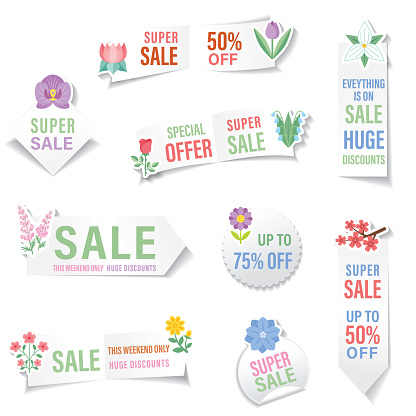 Cute bright plant Sale sticker. All flat colors except the drop shadow. This series is on a transparent base. There is no white background.