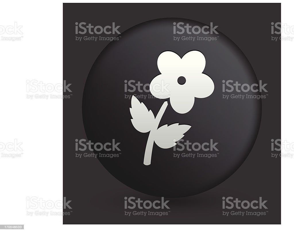 Flower Icon on Round Black Button Collection royalty-free stock vector art